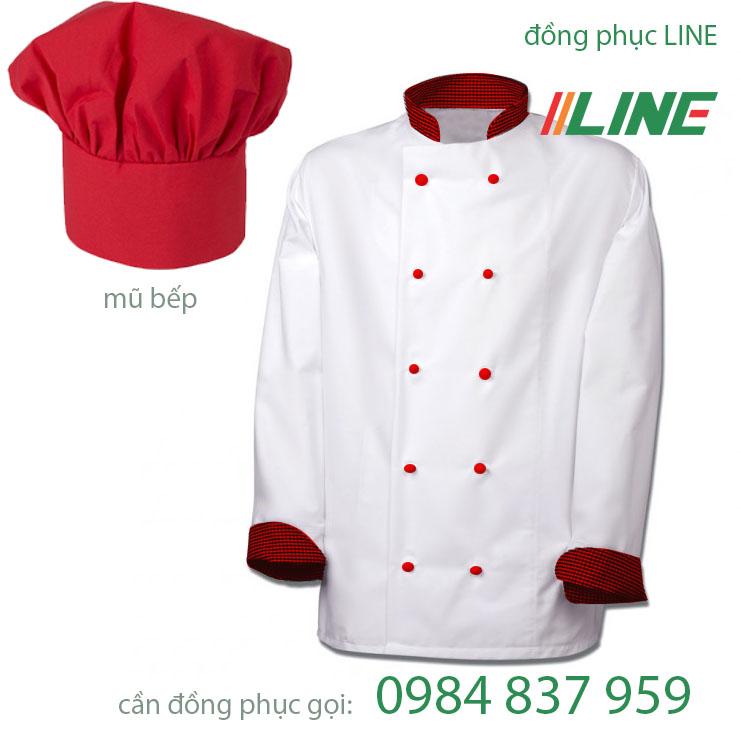 áo bếp trắng cổ tay phối ca rô nhỏ cúc đỏ