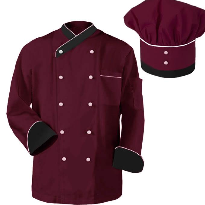 áo bếp đỏ đô sang trọng phối ghi xám và trắng