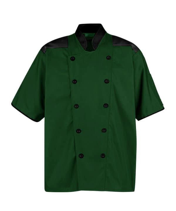 áo bếp xanh rêu vai cổ tay phối đen cúc đen