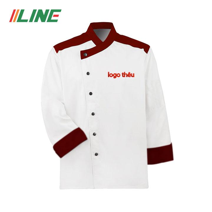 áo bếp trắng phối đỏ đô cúc đen đẹp tinh tế