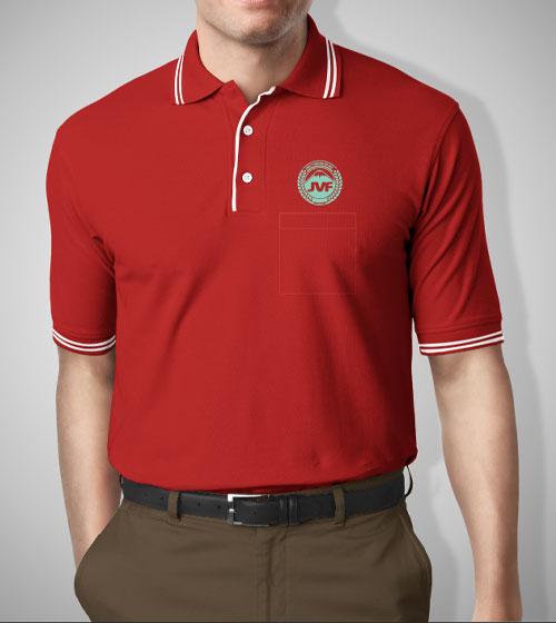 Áo đỏ phối viền lé trắng cao cấp