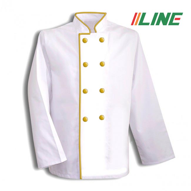 áo bếp trắng phối lé đồng cúc bọc màu đồng