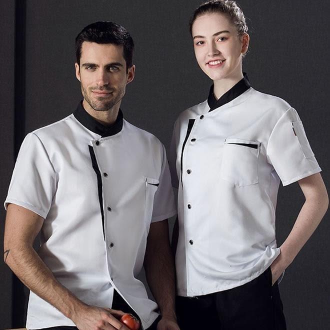 áo bếp trắng phối đen lịch sự