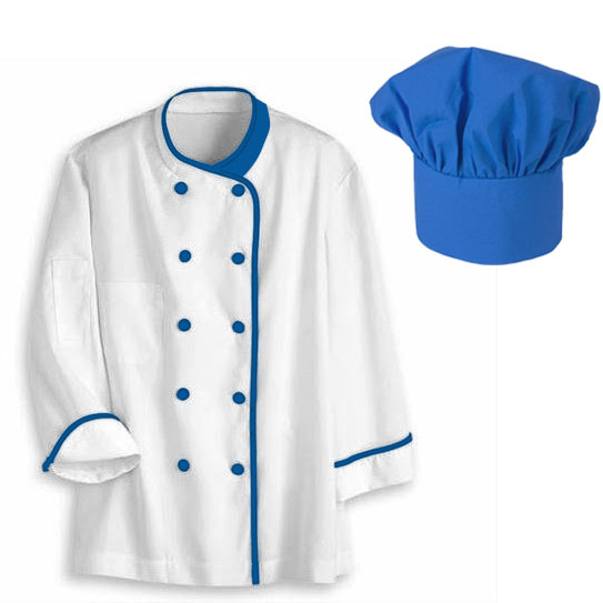 áo bếp trắng phối cổ xanh coban và cúc xanh