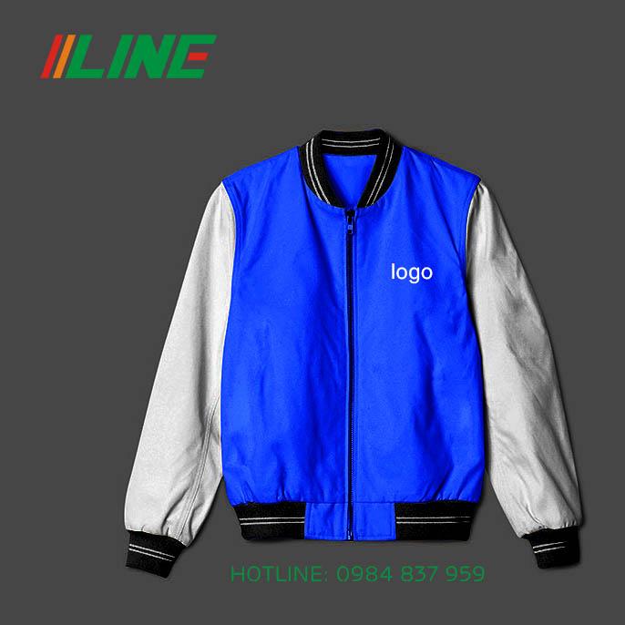áo khoác dáng ôm đông phục mùa đông xanh da trời phối đen và trắng