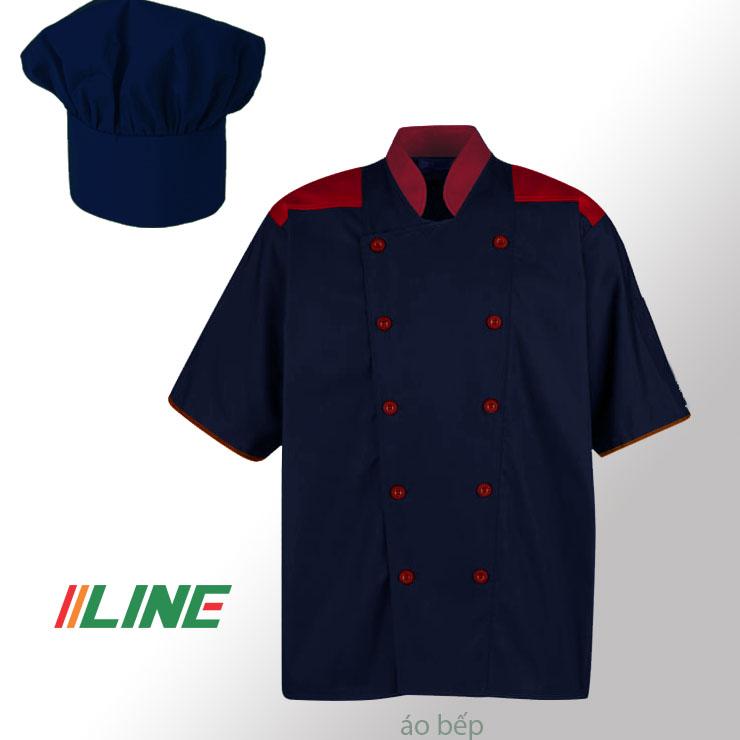 áo bếp xanh tím than vai cổ tay phối đỏ cúc đỏ